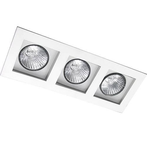 Spot Embutir Flat/3 E27 Alumínio Branco - Attena