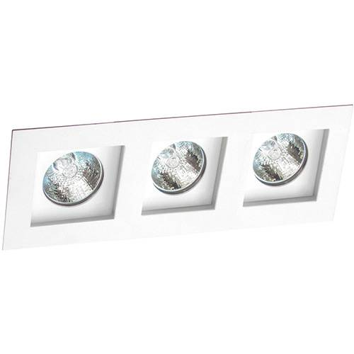 Spot Embutir Flat/3 Gu10 Alumínio Branco - Attena