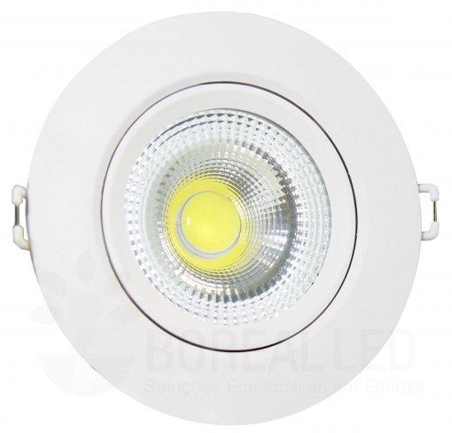 Spot LED COB Embutir 3W Redondo Branco Frio