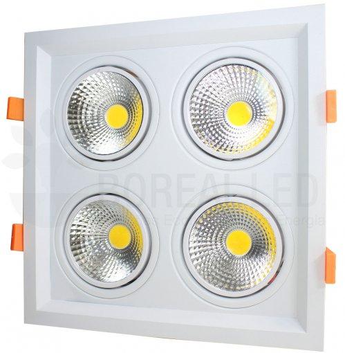 Spot LED Quadruplo Quadrado 10W/40W LED Face Recuada