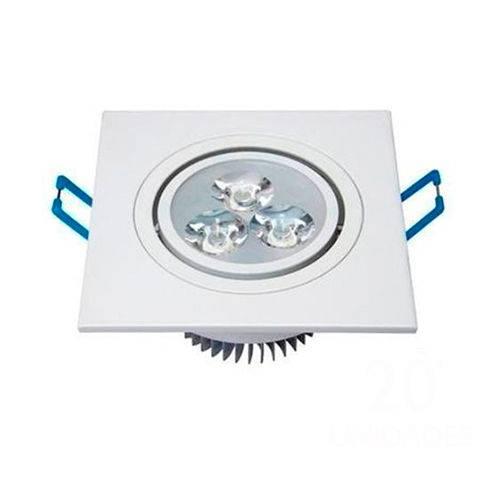 Spot Quadrado Branco Frio Led Direcionável para Teto Sanca e Gesso - Branco 3watts