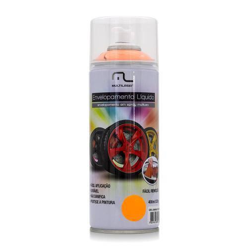Spray de Envelopamento Líquido Multilaser 400 Ml Laranja Fluorescente Au426