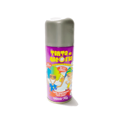 Spray Tinta Temporária para Cabelos 120ml Prata Interpack