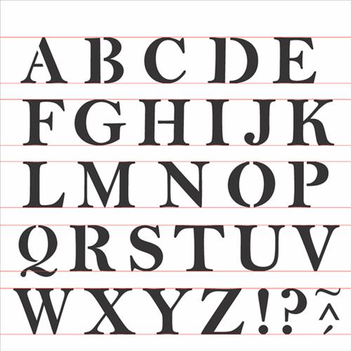 Stencil 30,5x30,5 OPA 2516 Alfabeto Reto Maiúsculo