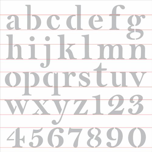 Stencil 30,5x30,5 OPA 2517 Alfabeto Reto Minúsculo