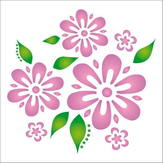 Stencil 14x14 Simples 1056 Flores e Folhas