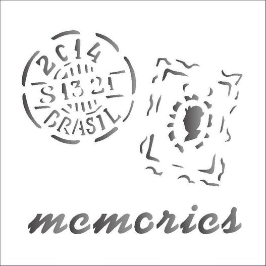 Stencil 14x14 Simples 1369 Memories Selos