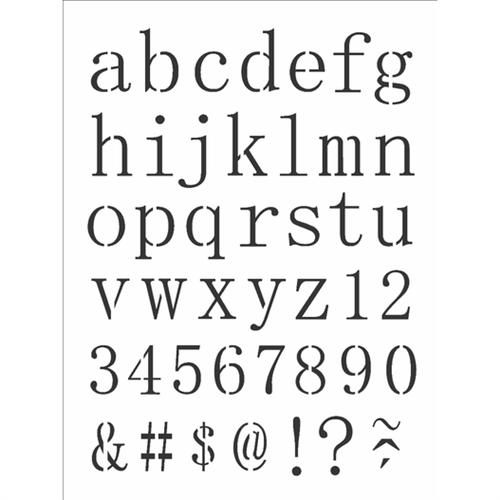 Stencil 15x20 OPA 2496 Alfabeto Reto Minúsculo