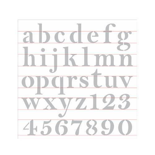 Stencil de Acetato para Pintura Opa Simples 30,5 X 30,5 Cm - 2517 Alfaberto Reto Minúsculo