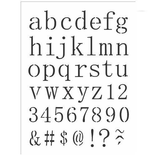 Stencil de Acetato para Pintura Opa Simples 15 X 20 Cm - 2496 Alfabeto Reto Minusculo