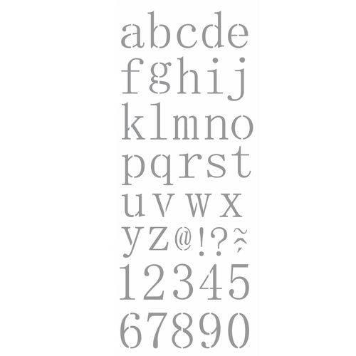 Stencil de Acetato para Pintura Opa Simples 17 X 42 Cm - 2505 Alfabeto Reto Minúsculo