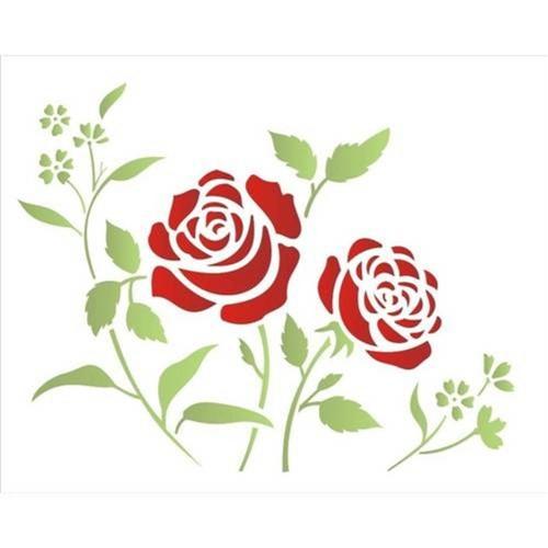 Stencil de Plástico para Pintura Opa 20 X 25 Cm - 1408 Flores Roseira