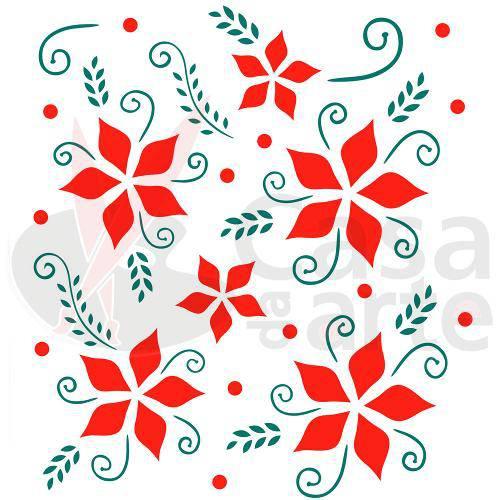 Stencil de Plástico para Pintura Opa 15 X 20 Cm - 874 Flores Natalina