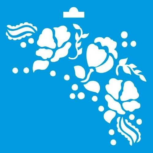 Stencil Especial Arabesco Flor 10X10 STX-053 Litoarte