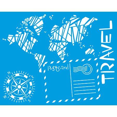 Stencil Litoarte 20 X 25 Cm - STR-044 Travel Mapa, Bússola...