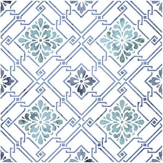 Stencil Litoarte 20x20 STXX-005 Azulejo com Flores