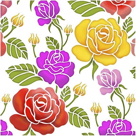 Stencil Litoarte 20x20 STXX-041 Estampa de Rosas