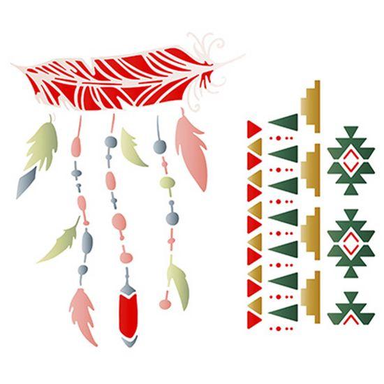 Stencil Litoarte 20x20 STXX-059 Penas e Tribal