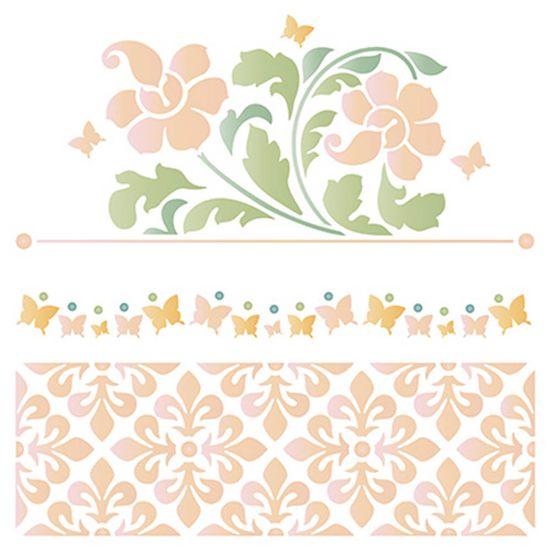 Stencil Litoarte 20x20 STXX-077 Flores e Azulejos