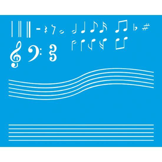 Stencil Litoarte 21,1x17,2 STM-066 Notas Musicais