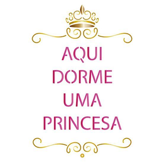 Stencil Litoarte 21,1x17,2 STM-541 Aqui Dorme uma Princesa