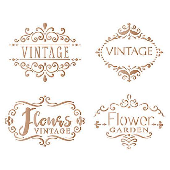 Stencil Litoarte 21,1x17,2 STM-624 Selos Vintage