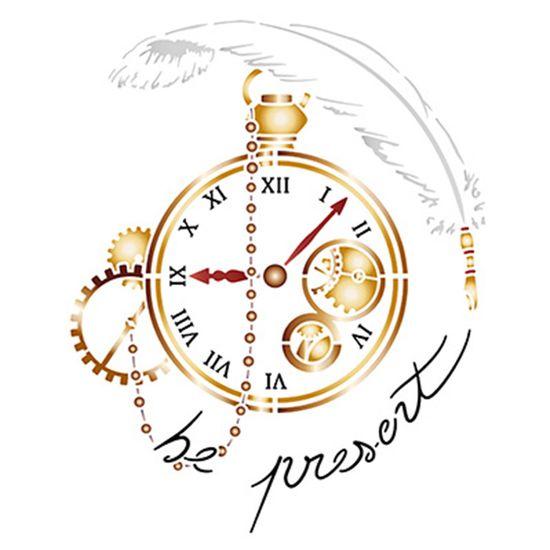 Stencil Litoarte 21,1x17,2 STM-644 Relógio Antigo e Engrenagens