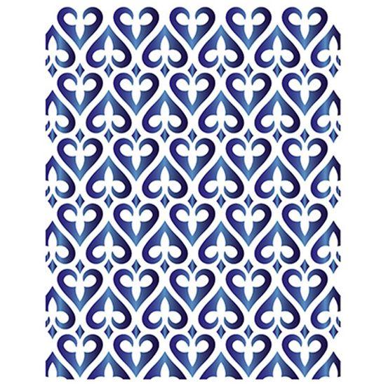Stencil Litoarte 21,1x17,2 STM-645 Estampa de Corações Arabescados