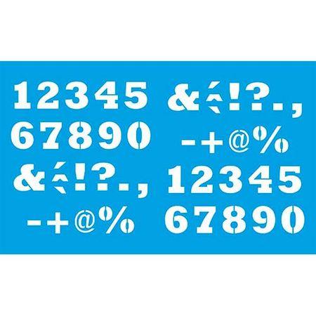 Stencil Litoarte 21 X 34 Cm - ST-085 Números e Caractéres