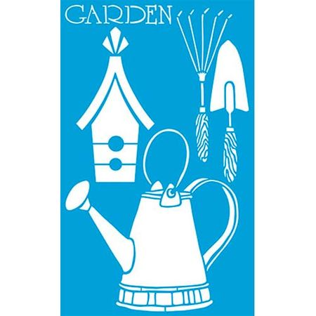 Stencil Litoarte 21 X 34 Cm - ST-337 Jardinagem: Casa Pássaro, Regador...