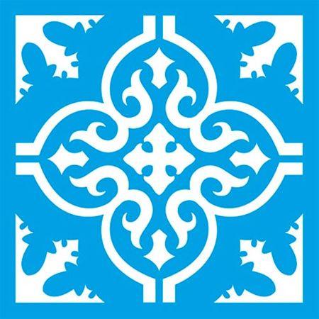 Stencil Litoarte 10 X 10 Cm - ST-X-372 Azulejo Arabescos