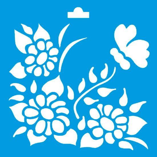Stencil Litoarte 10x10 STX-051 Flores