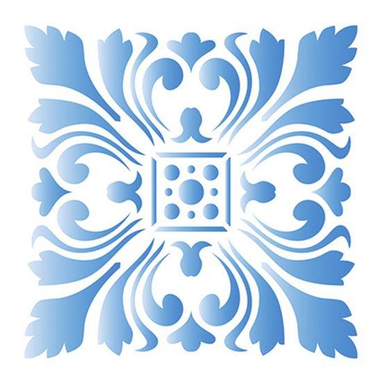 Stencil Litoarte 10x10 STX-314 Azulejo Imperial