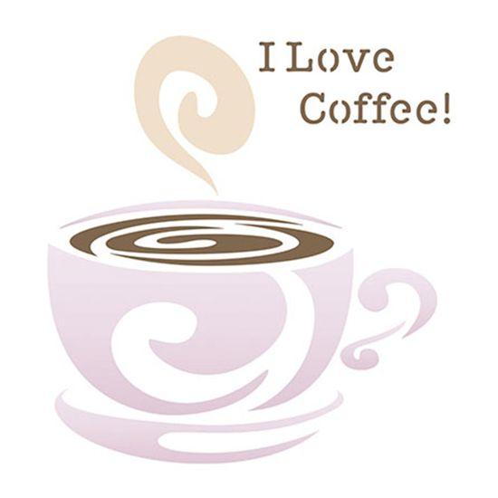 Stencil Litoarte 10x10 STX-262 I Love Coffee!