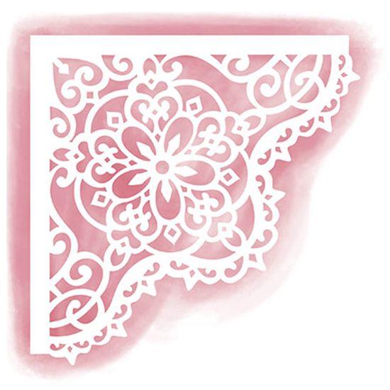 Stencil Litoarte 14x14 STA-047 Cantoneira Rendado Flor