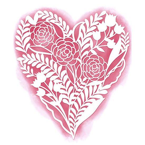 Stencil Litoarte 16x18 STA2-002 Coração com Flor