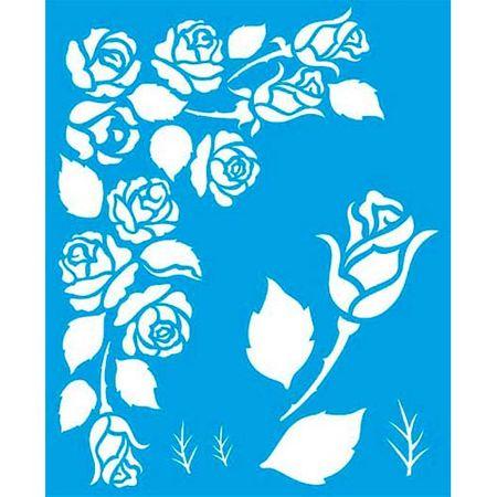 Stencil Litoarte 17 X 21 Cm - STM-341 Cantoneira Rosas Sobreposição
