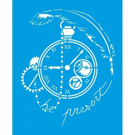 Stencil Litoarte 17 X 21 Cm - STM-644 Relógio Antigo, Engrenagens