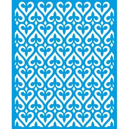 Stencil Litoarte 17 X 21 Cm - STM-645 Estampa de Corações Arabescados