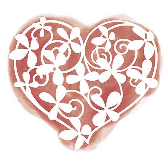 Stencil Litoarte 18,1x16,1 STA2-023 Coração Flores