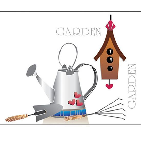 Stencil Litoarte 34,4x21 ST-337 Jardinagem, Casa e Pássaro