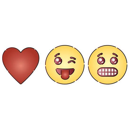 Stencil Litoarte 34,4x21 ST-396 Emoji Carinhas I