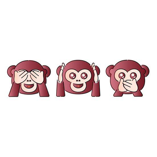 Stencil Litoarte 34,4x21 ST-399 Emoji Carinhas de Macaco
