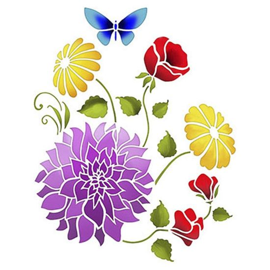 Stencil Litoarte 25x20 STR-008 Flores Dalias e Margaridas
