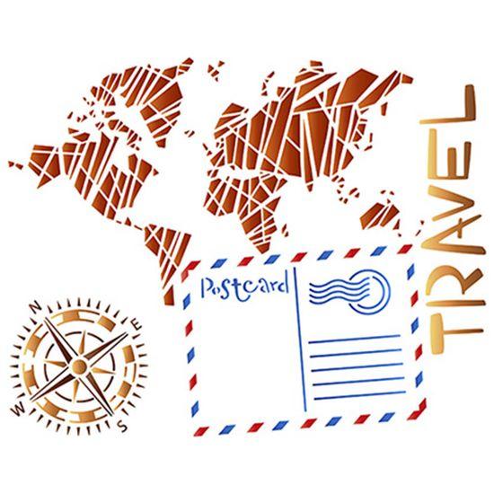 Stencil Litoarte 25x20 STR-044 Travel Mapa e Bússola