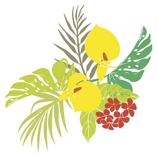 Stencil Litoarte 25x20 STR-046 Flores Tropicais