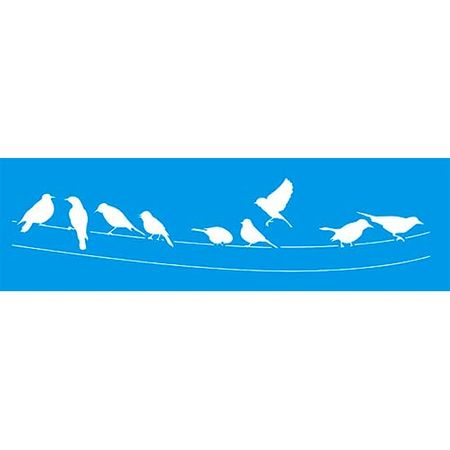 Stencil Litoarte 8,4 X 28,6 Cm - STE-235 Pássaros no Fio