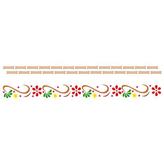 Stencil Litoarte 8,4x28,5 STE-035 Arabesco Flor