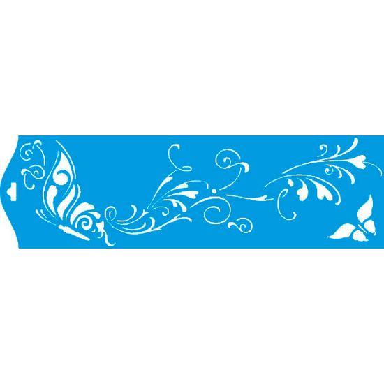 Stencil Litoarte 8,4x28,5 STE-099 Borboleta com Arabesco