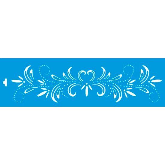 Stencil Litoarte 8,4x28,5 STE-118 Flor com Arabesco
